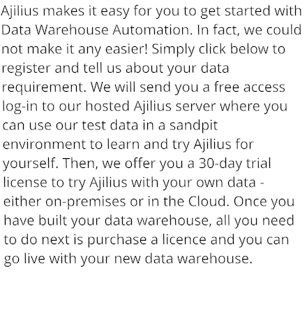 Ajilius makes it easy for you to get started with Data Warehouse Automation. In fact, we could not make it any easier! Simply click below to register and tell us about your data requirement. We will send you a free access log-in to our hosted Ajilius server where you can use our test data in a sandpit environment to learn and try Ajilius for yourself. Then, we offer you a 30-day trial license to try Ajilius with your own data - either on-premises or in the Cloud. Once you have built your data warehouse, all you need to do next is purchase a licence and you can go live with your new data warehouse.